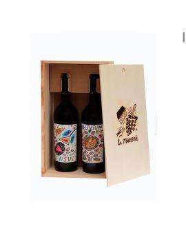 Cassetta in legno 2 bottiglie Oblivium/Sensus Casavecchia 2009-Pallagrello nero 2010