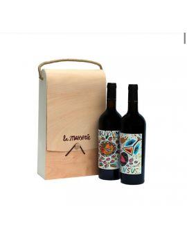 Astuccio in legno 2 bottiglie Oblivium/Sensus Casavecchia 2009-Pallagrello nero 2010.