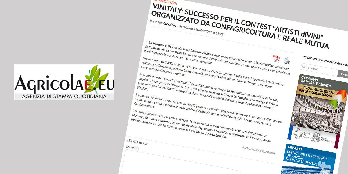 """VINITALY: SUCCESSO PER IL CONTEST """"ARTISTI diVINI"""" ORGANIZZATO DA CONFAGRICOLTURA E REALE MUTUA"""